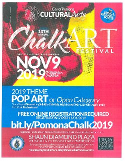 The dull gray concrete sidewalks and plaza tiles are transformed into colorful, pastel pathways. Pomona's elementary, middle, and high school students, as well as families and professional artists, will join together to create temporary chalk masterpieces.